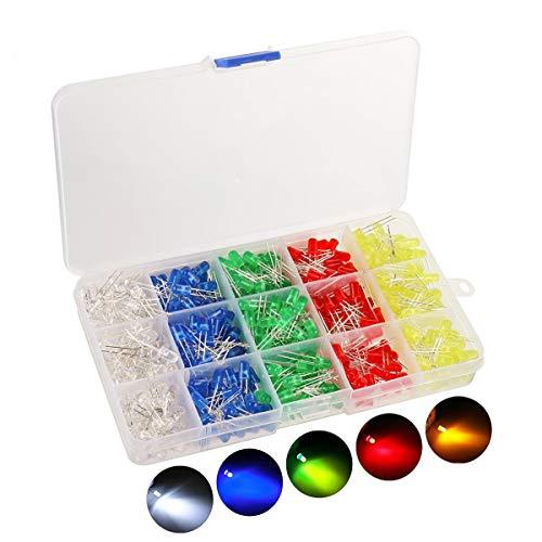 KINGSO 500 Stück 5mm LED Leuchtdioden Dioden set Elektronik komponenten rund 5 Farben(100er Jede Farbe)