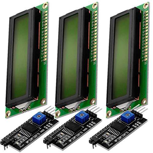 AZDelivery HD44780 16x2 LCD Modul Display Bundle mit I2C Schnittstelle 2x16 Zeichen kompatibel mit Arduino inklusive E-Book! (mit Grünem Hintergrund und Schwarzen Zeichen)