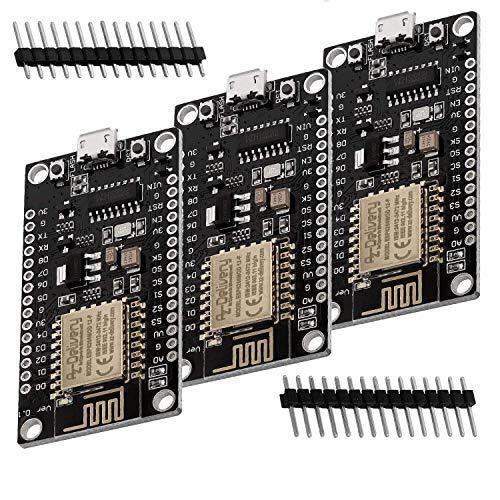 AZDelivery 3 x NodeMCU Lolin V3 Module ESP8266 ESP-12F WIFI Development Board unverlötet inklusive E-Book!