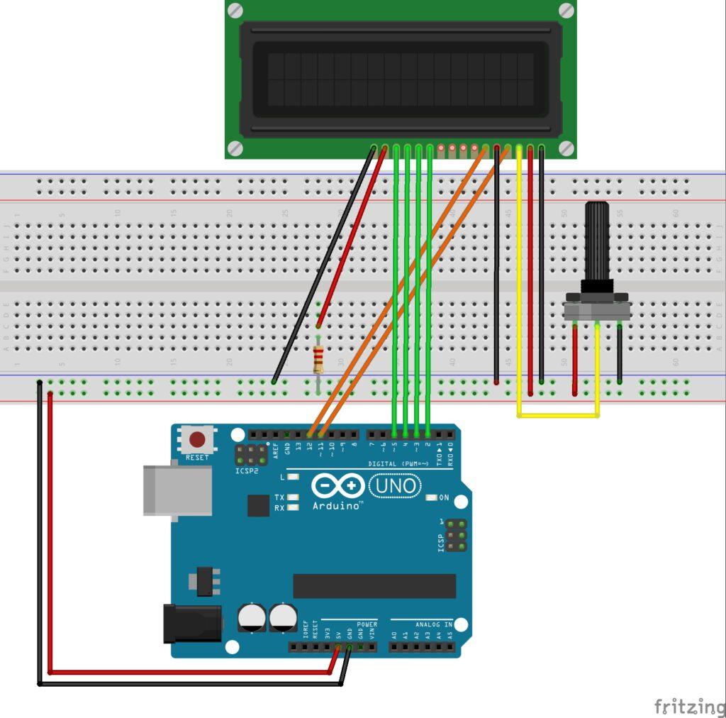 Schematische Darstellung eines LCD-Displays an einem Arduino Uno