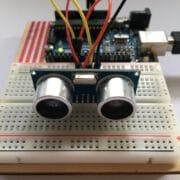 Ultrasonic sensor HC SR04 mounted on the Arduino