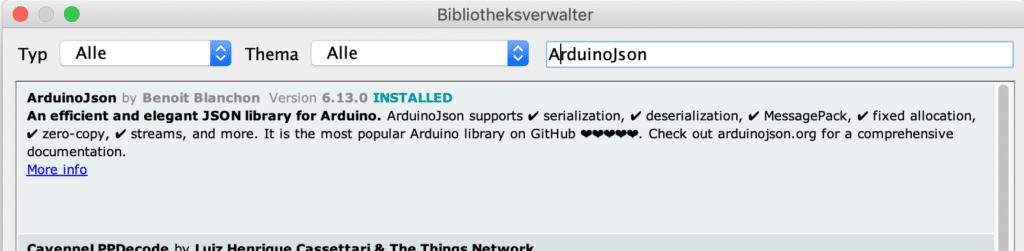Bibliothek ArduinoJson.h