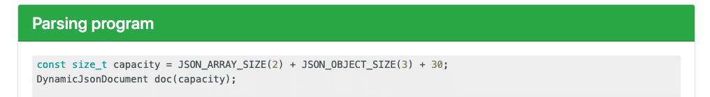 Speicherbedarf ArduinoJson