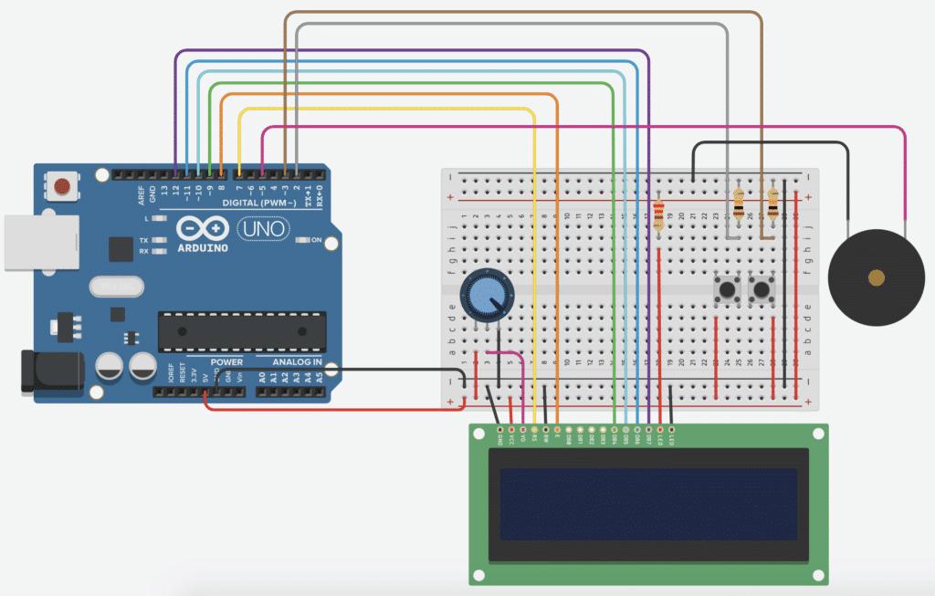 Aufbau des Arduino Spiels Hill Run