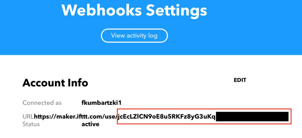 Webhook Einstellungen auf IFTTT