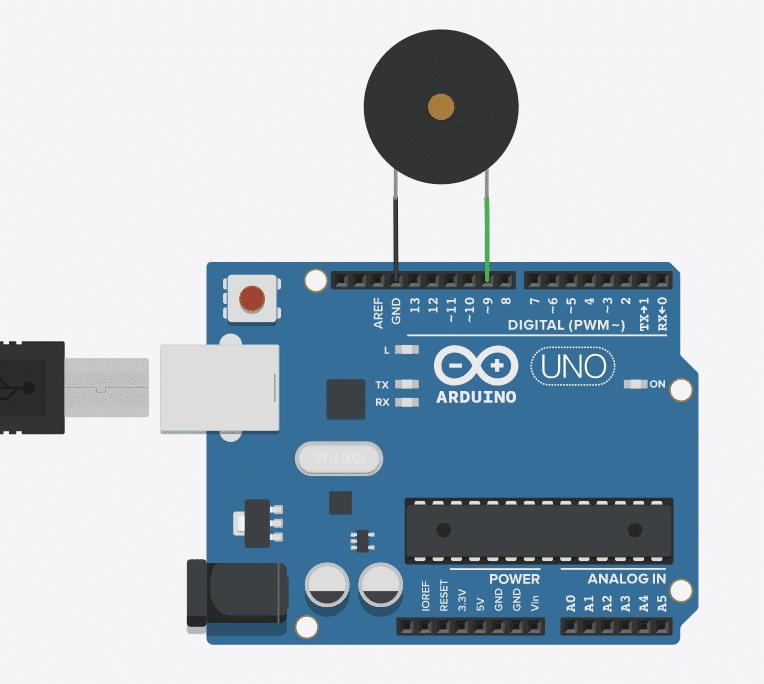Anschluss des Piezo am Arduino