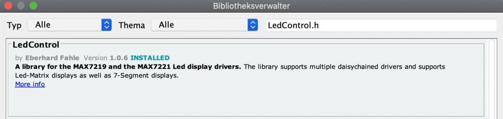 Bibliothek LedControl.h im Bibliotheksverwalter, um die 7-Segment-Anzeige zu steuern