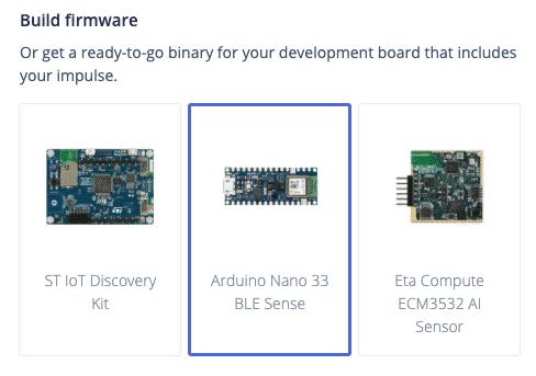 Die Firmware für den Arduino Nano 33 BLE Sense erstellen