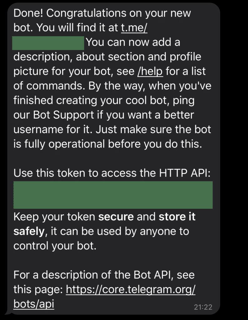 Den Token für deinen Telegram-Bot erhalten