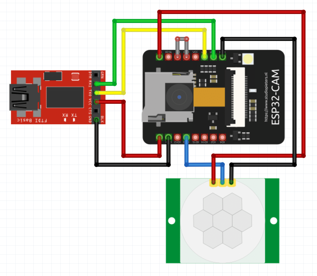 Aufbau Fotofalle ESP32-CAM und PIR-Sensor
