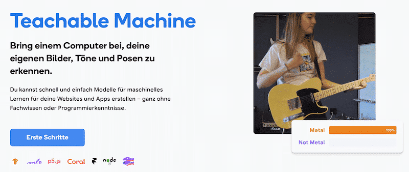 Homepage von Teachable Machine