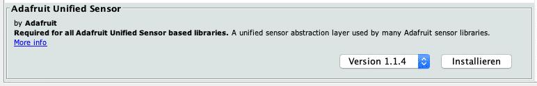 Bibliothek Adafruit Unified Sensor