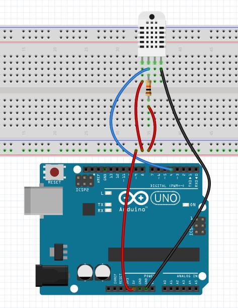 Anschluss DHT22 am Arduino